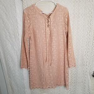 Chelsea & Violet Blush Lace Crochet Shift Dress
